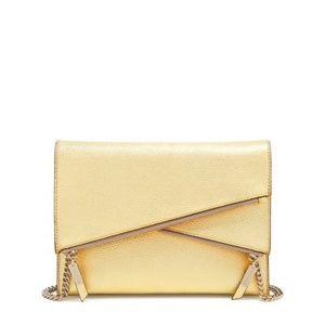 New Henri Bendel Devon Gold Convetible Clutch Bag
